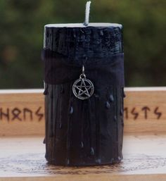 WITCHES POWER Sacred Magick Pentacle Jet Black Candle w/ Dragons Blood - Sacred Rites, Banishing, Protection, Dark Goddess Moon, Spells. $11.95, via Etsy.