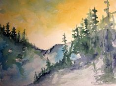 Mountain Pass original watercolor painting matted 8x10 and ready to frame 11x14,watercolor landscape,watercolor art,original painting,sunset