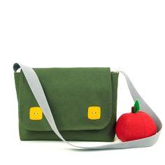 Kid's Messenger Bag Green Canvas Children's Satchel  £22.00