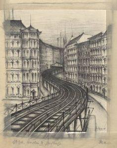 """Berlin, """"Die Hochbahn in Kreuzberg"""", Grafik, Daerr, Joachim, 1936 ."""