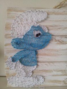 Smurf string art. Check us out on Facebook at All Strung Up. https://www.facebook.com/pages/All-Strung-Up/915873695199667?ref=hl