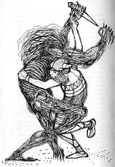 grendel and beowulf; grendel and beowulf