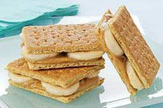 Peanut butter and bananas are sandwiched between graham crackers and frozen for a tasty treat kids will love.