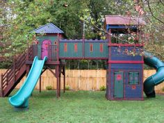 click for slideshow.  Good bones.  Left side could be built around our tree.  More swings farther apart.  Shed for storage under right side.