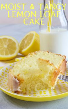 This Moist & Tangy Lemon Loaf Cake is made with fresh lemon juice and zest and that's not all. It gets soaked with a lemon simple syrup, then drizzled with a sweet/tart lemony glaze. It's undeniably delicious! Lemon Syrup Cake, Lemon Loaf Cake, Lemon Drizzle Cake, Lemon Dessert Recipes, Rhubarb Recipes, Lemon Recipes, Baking Recipes, Loaf Recipes, Rhubarb Cake