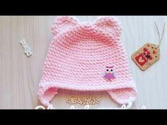 Детская шапочка крючком из плюшевой пряжи/детская плюшевая шапка с ушками - YouTube