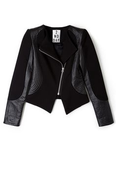 Wish List: 2nd Lines Assymetrical Zip Blazer by 2nd Day #Black #Leather