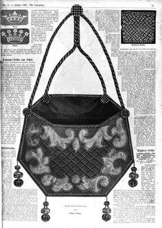 Der Bazar: Victorian 1860s fashion plate on embroidered, decorated purse. http://books.google.com/books?id=OJ1LAAAAcAAJ&printsec=frontcover&dq=der+bazar+1861&hl=en&sa=X&ei=25lwUvWyGM_PigLCyoHQCg&redir_esc=y#v=onepage&q=der%20bazar%201861&f=false