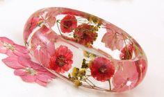 Terrarium Jewelry, Preserved Flower Jewelry, Resin Jewelry, Rustic Wedding, Red Bracelet, Flower Bracelet, Chunky Bracelet by JasmineThyme on Etsy