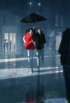 """forecasting rain, thunder, hot chocolates and warm cuddles,"" pascal campion: April 2015 Couple Illustration, Digital Illustration, Pascal Campion, Rain And Thunder, Rain Art, Umbrella Art, Couple Art, Rainy Days, American Artists"