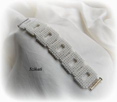 FREE SHIPPING! White Statement Seed Bead Cuff Bracelet, Bridal Accessory, Elegant Women's Beadwoven High Fashion Jewelry, Gift for Her, OOAK