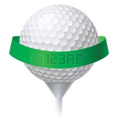 Pelota de golf con la cinta verde. Ilustraci�n sobre fondo blanco para el dise�o photo