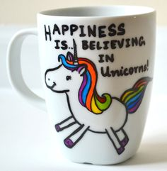 Unicorn Coffee Mug - Happiness Quote - Gay Marriage Gift - Hand painted 10 oz cup