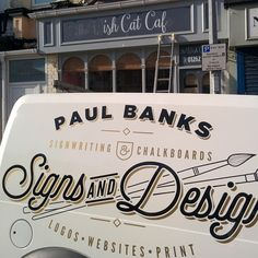 Hand lettered cafe facia Sign in Bridlington