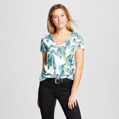 Women's Printed Vintage V-Neck T-Shirt - Merona White Leaf Print