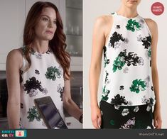 Ashley's white floral top on Pretty Little Liars.  Outfit Details: http://wornontv.net/44910/ #PLL