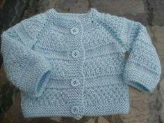 """Pattern description from Vogue Knitting, Spring/Summer """"'I designed this sweater nine years ago, when I was expecting my second baby, my first and only gi Baby Cardigan Knitting Pattern Free, Baby Sweater Patterns, Knitted Baby Cardigan, Knit Baby Sweaters, Baby Knitting Patterns, Baby Patterns, Blue Sweaters, Baby Coat, Couture"""