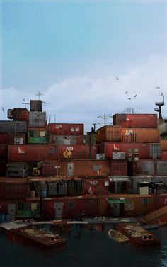Container City by on DeviantArt Cyberpunk, Post Apocalyptic City, Environment Concept, Slums, End Of The World, Sci Fi Fantasy, Dieselpunk, Futuristic, Concept Art