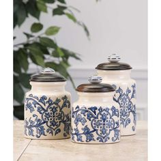 IMAX Vera Hand-Painted Canisters - Set Of 3