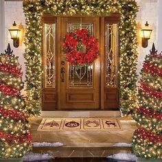 Front door Christmas decoration... i wish i lived in a house where i could do this, beautiful!!