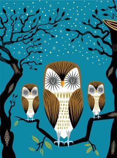 "Three Lazy Owls by Oliver Lake Art Print / MINI (8"" X 10"")  $15.00"