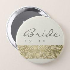 GLAMOROUS GOLD WHITE MOSAIC DOTS BRIDE TO BE BUTTON