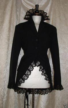 coat jacket black corset riding jacket goth steampunk victorian  size usa10   uk 12  euro 40. $55.00, via Etsy.
