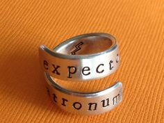 Expecto Patronum - Harry Potter Inspired - Aluminum Wrap Ring  - Hand Stamped