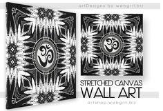 Black White Batik Om Sign Mandala New Age Wrapped Canvas