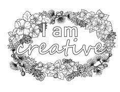 I Am Creative Self-Affirmation Adult Coloring Page Coloring