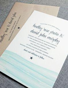 NEW Hadley Watercolor Waves Beach Wedding Invitation Sample