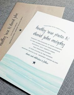 NEW Hadley Watercolor Beach Waves Wedding Invitation by Cricket Printing