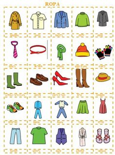 The clothes in Spanish - This is a great resource to use as a memory game or as flashcards. Suitable for adults and children Spanish Lessons For Kids, Spanish Basics, Spanish Lesson Plans, Spanish Activities, Spanish Notes, Spanish Vocabulary, Spanish Language Learning, Teaching Spanish, Elementary Spanish