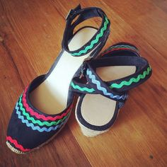 tesco strappy espadrilles, worth of ric rac trim, fabric glue and patience. Retro Summer, Fabric Glue, Summer Shoes, Patience, Mary Janes, Espadrilles, Tropical, Flats, Sneakers