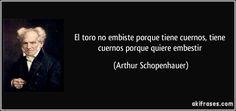 El toro no embiste porque tiene cuernos, tiene cuernos porque quiere embestir (Arthur Schopenhauer)