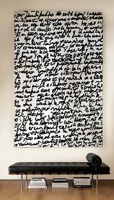 black writing on white canvas.