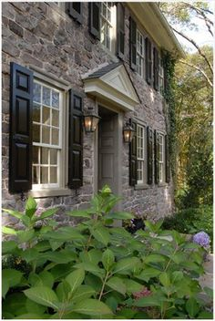 Stone House with Black Shutters   Timberlane.com