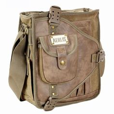 Aerlis mens canvas and leather shoulder messenger bag Vintage student bags for college 4505 Free shipping-inMessenger Bags from Luggage & Ba...