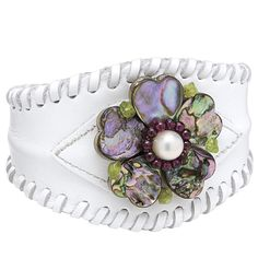 Genuine Abalone White Leather Cuff Bracelet