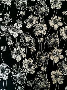 Black/White Floral Stretch Cotton Poplin - Sew Much Fabric