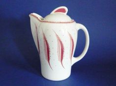 Susie Cooper Wedgwood 'Pink Fern' Small Kestrel Coffee Pot c1988 - reissue of a 1930s design