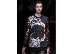 The trend: Easy Embellishment  Sequins were paired with printed jersey for a high-low mix at Givenchy by Riccardo Tisci.