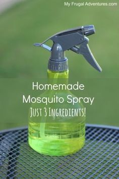 Homemade Mosquito Repellent {Just 3 Ingredients Homemade Mosquito Spray- so easy just 3 ingredients! No harsh chemicals, no sticky feeling on your skin and the fragrance is much nicer then what you find in the store. Diy Cleaning Products, Cleaning Hacks, Homemade Products, Homemade Mosquito Spray, Homemade Fly Spray, Mosquito Spray For Yard, Insect Repellent, Diy Mosquito Repellent, Mosquito Repellent Essential Oils