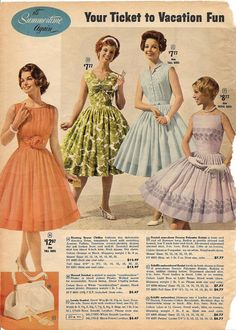 Vintage Retro Style Beautiful early styles and colours of summer dresses. vintage fashion dress retro clothing - your ticket to vacation fun. 1960s Dresses, Vintage Style Dresses, 1960s Fashion, Vintage Fashion, Ski Fashion, Sporty Fashion, Fashion Women, Winter Fashion, Retro Outfits