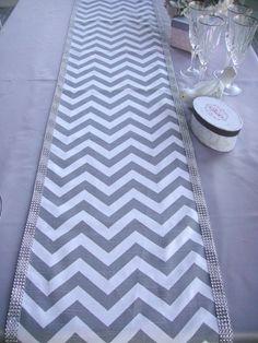 CHEVRON 13x72 Table Runner Trimmed in Diamond Mesh Rhinestones, Wedding Table Topper, Table Cover. $35.00, via Etsy.