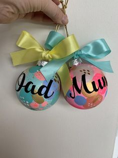 Painty hand painted Christmas bauble with name - choose your colours Personalised Bauble, Personalised Christmas Baubles, Christmas 2019, Christmas Gifts, Christmas Ornaments, Colorful Christmas Tree, Color Mixing, Hand Painted, Colours