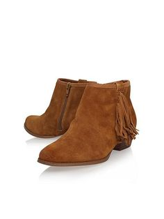 Sassy low block heel fringed ankle boots