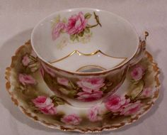 Vintage Limoges Mustache Cup and Saucer with Roses from yas1 on Ruby Lane