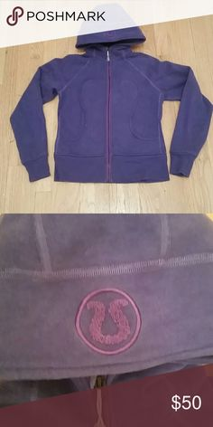 Lululemon Hoodie Hvy Fleece Size 6 Super cozy,  pretty Dark purple color with contrasting purple zipper and emblem on hood. Size 6 . Not sure what version of the Remix or Scuba  it is but there are No Thumb Holes in sleeves.  Hvy weight Gently worn, well taken care of. lululemon athletica Tops Sweatshirts & Hoodies
