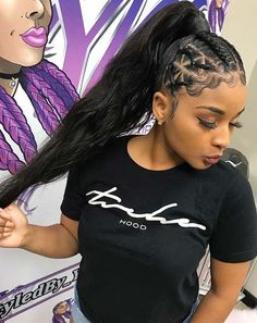 85 Box Braids Hairstyles for Black Women - Hairstyles Trends Weave Ponytail Styles, Curly Hair Styles, Braided Ponytail Hairstyles, Sleek Ponytail, Braided Hairstyles For Black Women, African Braids Hairstyles, Baddie Hairstyles, Rubber Band Hairstyles, Hairstyles 2018